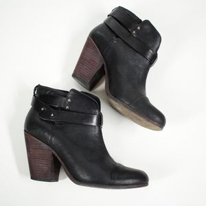 Rag & Bone Harrow Black Leather Ankle Boots 10